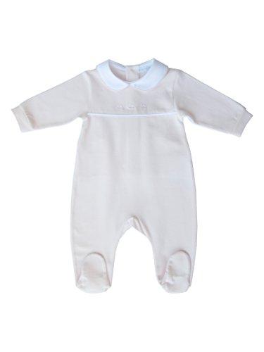 La Mascot - tutina in cotone elasticizzato rosa con piedini e ricamo barchette rosa, neonata, 12 mesi