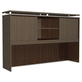 Alera Plus SedinaAG Series Hutch with Sliding Doors, 72w x 15d x 42-1/2h, Espresso