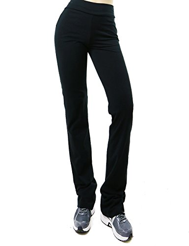 Active Womens High-Waist Super Comfortable Flare Pants (Large, Black)