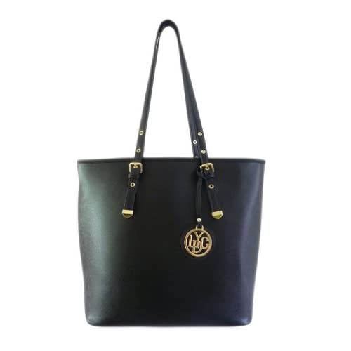 LYDC New Ladies Faux Leather Tote Handles Buckle Oversized Shoulder Bag Fashion Womens Office