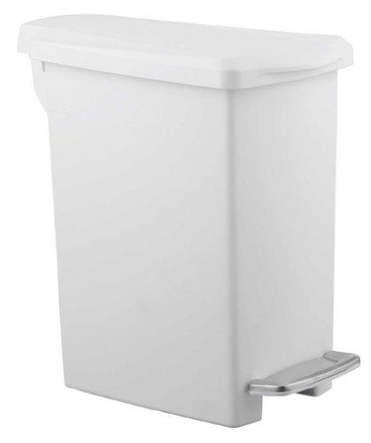 simplehuman Slim Step Trash Can, White Plastic, 10L / 2.6 Gal (Simplehuman Slim Step Can compare prices)