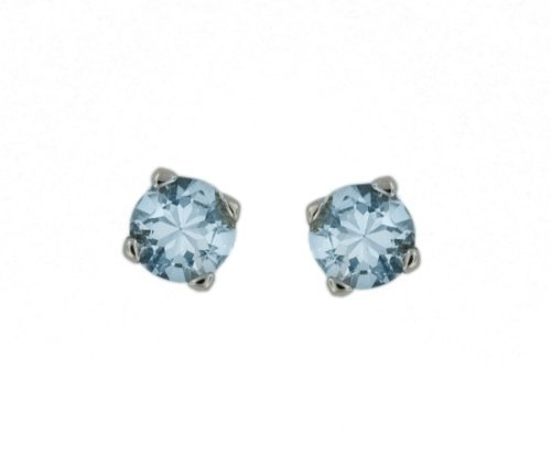 9ct White Gold 1ct Aquamarine Round Stud Earrings