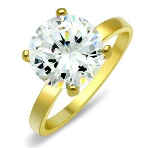 CZ ENGAGEMENT RING - 14k Gold Plated 4 Prong Solitaire CZ Engagement Ring