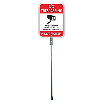"SmartSign Aluminum Sign, Legend ""No Trespassing Video Surveillance"" with Graphic, 12"" high x 9"" wide sign plus 3' tall stake, Black/Red on White"