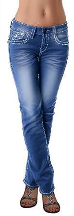 Damen Hose Jeans *F903* weiße Nähte Gr. 34-42 Stretch Damenjeans Hose fabulous blue used Jeans 34