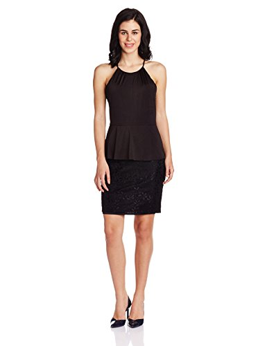Avirate Women's Peplum Dress (AVDR100780_Black_12)