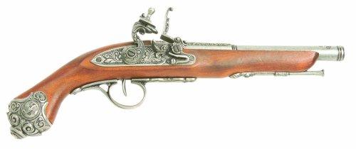 Denix 18th Century Flintlock Pistol with Grey Ornate Handle Butt