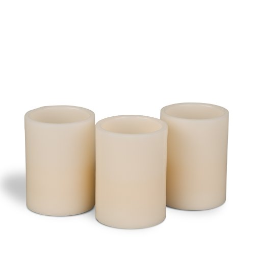 Gerson 3-Piece Straight Edge Wax Led Candle Set, 4-Inch