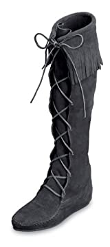 Front Lace Hardsole Knee Hi Boot in Black Suede