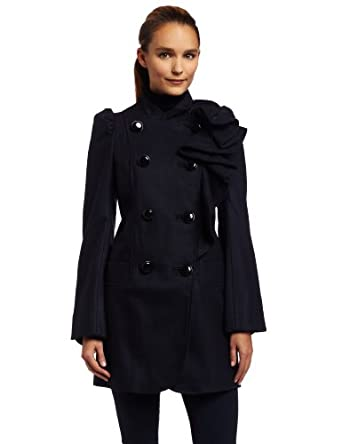 French Connection Womens Winter Sun Wool Coat, Nocturnal