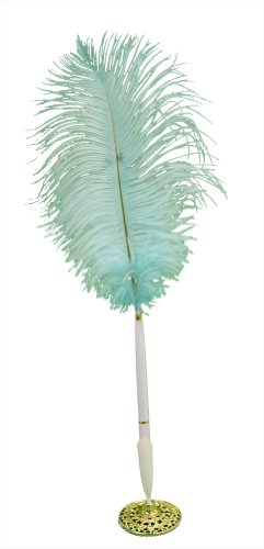 Blue Feathered Guest Book Plume Pen with Polished Brass Stand