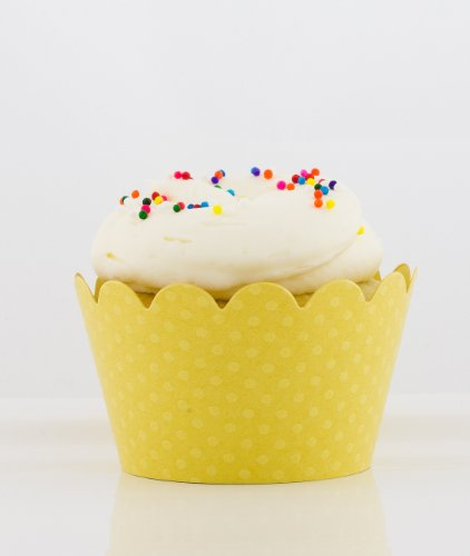 Designer Yellow Cupcake Wrappers - Set of 12 - by SimplyGenie - 1