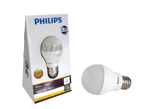 Philips 420240 10.5-watt (60-watt) A19 LED Household Bright White (3000K) Light Bulb