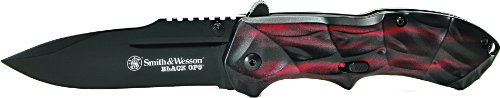 Smith & Wesson Swblop3R Ops M.A.G.I.C. Assisted Opening Liner Lock Folding Knife, Red