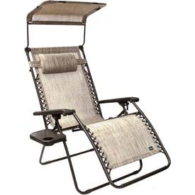 Bliss Hammocks Wide Gravity Free Lounger Chair with Pillow and Canopy and Side Tray, Platinum Gray by Bliss Hammocks Inc