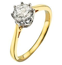 Classical 18 ct Gold Women Solitaire Engagement Diamond Ring Brilliant Cut 0.50 Carat JK-I2