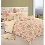 Swayam Printed Cotton Bedsheet With 2 Pillow Covers - King Size, Cream