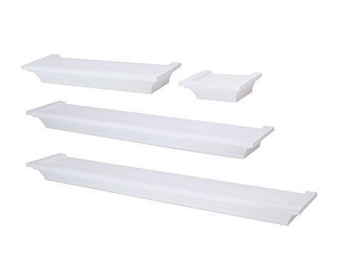 nexxt Classic Set of 4 Multilength Floating Ledge Shelves, White