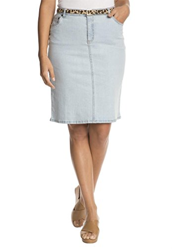 Jessica London Women's Plus Size Denim Skirt Bleach Wash,20