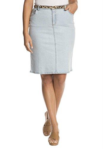 Jessica London Women's Plus Size Denim Skirt Bleach Wash,20