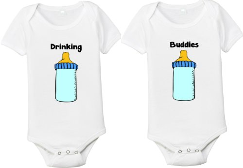 Drinking Buddies Matching Set Of 2 One-Piece Baby Shirts/Bodysuits For Twins (6-12 Months) front-10699