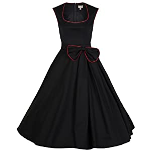 Lindy Bop 'Grace' Classy Vintage 1950's Rockabilly Style Bow Swing Party Dress (M, Black)
