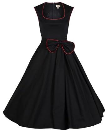 Lindy Bop 'Grace' Classy Vintage 1950's Rockabilly Style Bow Swing Party Dress (XS, Black)