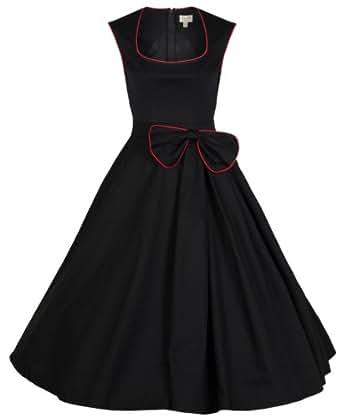Lindy Bop Rockabilly Kleid 50er Jahre Grace, Schwarz Gr. 42