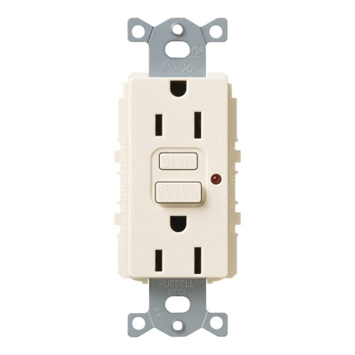 Lutron SCR-15-GFTR-ES Satin Colors 15A GFTR Electrical Socket Receptacle, Eggshell