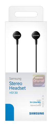 Samsung HS130 Wired Stereo Earbud 3.5mm universal headset with In-Line Multi-Function Answer/Call Button (Black)