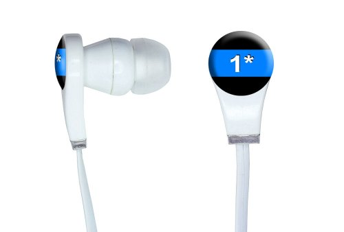 Graphics And More Thin Blue Line 1 One Asterisk - Police Policemen Novelty In-Ear Headphones Earbuds - Non-Retail Packaging - White