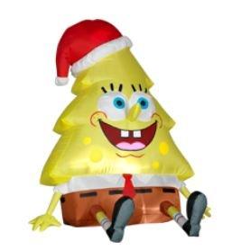 2011 3.5' Nickelodeon SpongeBob Squarepants Christmas Tree Airblown Inflatable by Gemmy Sponge Bob