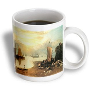 Bln Sailing Ships And Seascapes Fine Art Collection - Sun Rising Through Vapour Fisherman Cleaning And Selling Fish By J. M. W. Turner - 15Oz Mug (Mug_126842_2)
