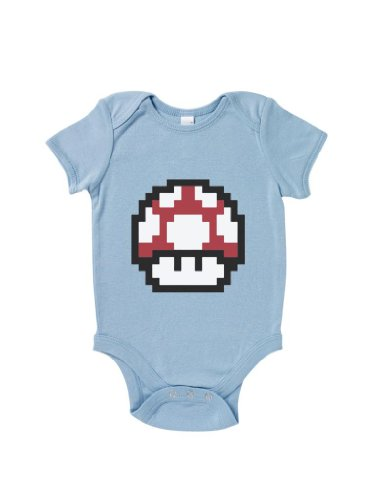 Blue Ivory Super Mario Mushroom Baby Grow Humour Gift Inspired Novelty Logo front-862146