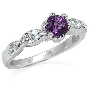 Natural African Amethyst&White Topaz Sterling Silver Engagement Ring Size 6