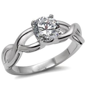 Stainless Steel Twisted Style in a Round Cut CZ Solitaire Engagement Ring