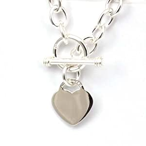 Toc Sterling Silver 34 gram Necklace with Heart Charm with T-Bar Closure