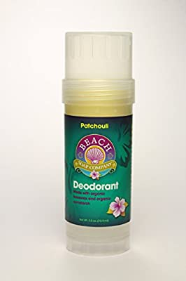Certified Organic Deodorant - Aluminum, Talc, and Paraben Free, Patchouli Scent. Made and sold by Beach Organics. 2.5 oz.