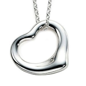 Valentine Sterling Silver Open Foating Heart Pendant Necklace. Stamped 925