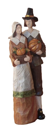 Young's Resin Pilgrim Couple Figurine, 10.5-Inch