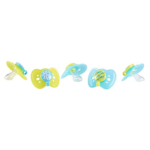 The First Years GumDrop Orthodontic Pacifier - 0-6 months, 5 Pack, Blue/Green