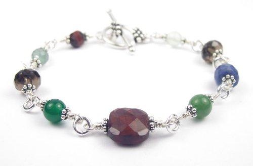 Damali Stress Relief Bracelet w/ Jade, Tiger Eye, Smokey Quartz, Sodalite in Sterling Silver - Small 6.5 Inches