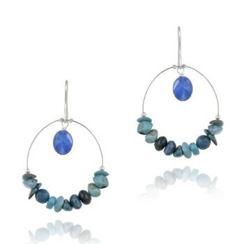 Sterling Silver Created Turquoise & Blue Apatite Hoop Dangle Earrings
