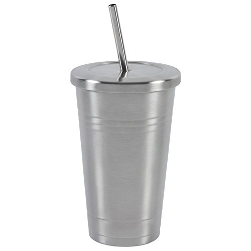 Stainless Steel 16 OZ Tumbler by Varvino, Insulated Travel Mug with 2 Stainless Straws, for Hot/Cold Drinks (Cold Coffee Cup compare prices)