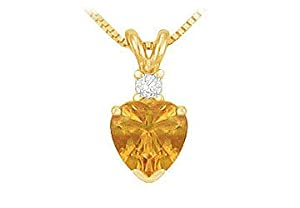 Diamond and Citrine Solitaire Pendant : 14K Yellow Gold - 1.00 CT TGW Diamond and Citrine Solitaire