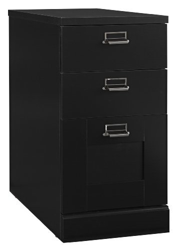 Stockport Collection:3 Drawer Pedestal (Black Wood File Cabinet compare prices)