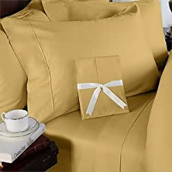1000 Thread Count 100% EGYPTIAN COTTON (NOT MICROFIBER) 4 Piece Bed Sheet Set, California King , Gold Solid
