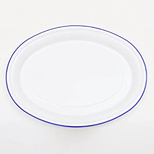 Enamelware Oval Serving Platter - Solid White with Blue Rim