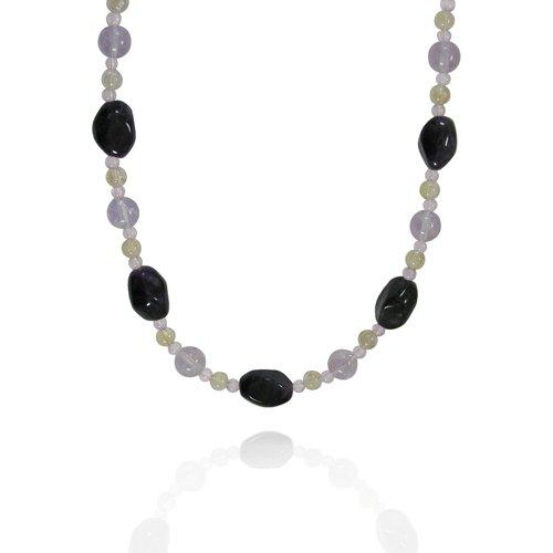 Amethyst Fancy-Shaped 11x15mm with Multi Gemstone Bead Necklace, 18+2