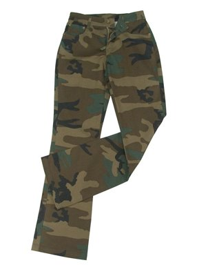 WOMEN'S PINK CAMO STRETCH FLARE PANTS (13-14, Woodland Camo)
